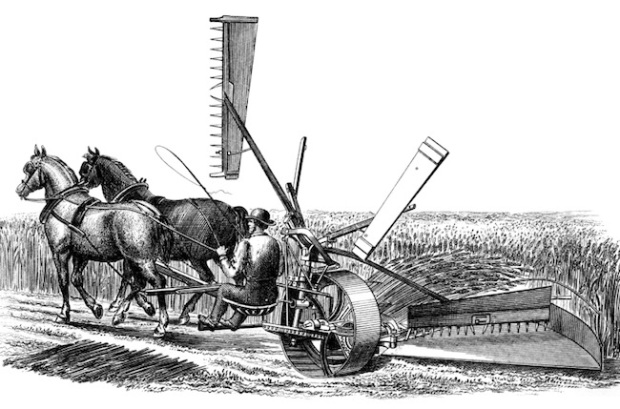 19th century engraving of a Burgess and Key's Reaper